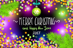 Glowing color Christmas Lights Wreath for Xmas Holiday Greeting Cards Design. Merry Christmas and Happy New Year 2017, vector. con Stock Photography