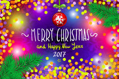 Glowing color Christmas Lights Wreath for Xmas Holiday Greeting Cards Design. Merry Christmas and Happy New Year 2017, vector. con Stock Images