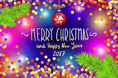 Glowing color Christmas Lights Wreath for Xmas Holiday Greeting Cards Design. Merry Christmas and Happy New Year 2017, vector. con Royalty Free Stock Image