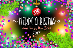 Glowing color Christmas Lights Wreath for Xmas Holiday Greeting Cards Design. Merry Christmas and Happy New Year 2017, vector. con. Fetti, a hand-written Stock Photos