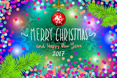 Glowing color Christmas Lights Wreath for Xmas Holiday Greeting Cards Design. Merry Christmas and Happy New Year 2017, vector. con Stock Photo