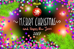 Glowing color Christmas Lights Wreath for Xmas Holiday Greeting Cards Design. Merry Christmas and Happy New Year 2017, vector. con Stock Image