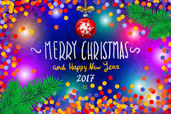 Glowing color Christmas Lights Wreath for Xmas Holiday Greeting Cards Design. Merry Christmas and Happy New Year 2017, vector. con. Christmas card with confetti Stock Photo