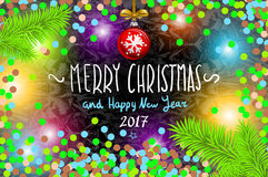 Glowing color Christmas Lights Wreath for Xmas Holiday Greeting Cards Design. Royalty Free Stock Images