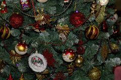 Glowing colorful chirtmas balls on the christmas tree Royalty Free Stock Images