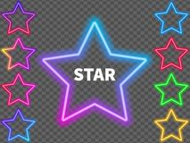Glowing colorful neon signs of stars on a transparent background. Vector illustration. Glowing colorful neon signs of stars on a transparent background vector illustration