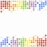 Glowing colorful polka dots abstract background illustration with copy space. Glowing colorful polka dots in rainbow colors border the top and bottom of this Stock Photo