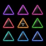Glowing colorful set of neon rounded triangles. Glowing colorful set of neon rounded triangle on black background. Illuminated geometric polygon frame with royalty free illustration