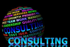 Glowing consulting word with globe Stock Photo