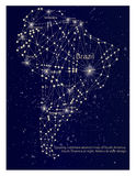 Glowing continent abstract map of South America. South America a. T night. Molecule style design Stock Photo