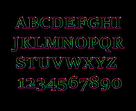 Glowing cosmic neon font. Shiny capital letters latin alphabet.Alphabet Icon Vector Graphic.Fun english alphabet one line colorful letters set. Font style Royalty Free Stock Images
