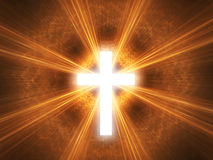 Glowing cross. With radial rays of light Vector Illustration