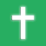 Glowing cross. Symboll on a green background. Flat design elemen Stock Illustration