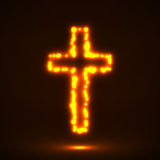 Glowing cross, christian symbol. Abstract, glow, Sign Cross Shape Catholicism Christianity Royalty Free Stock Photography