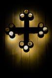 Glowing Cross. Coptic Orthodox Cross Design Glowing by back light stock photo