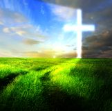 Cross with horizon skys glowing Stock Photography