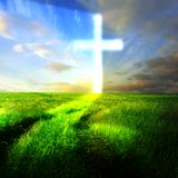 Christian background: Glowing Cross on the field  Royalty Free Stock Images