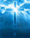Glowing cross in sky Royalty Free Stock Photos