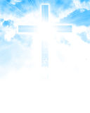 Glowing cross in sky Royalty Free Stock Image