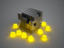 Glowing crumbling boxes Stock Photos