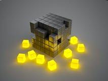 Glowing crumbling boxes Stock Photos