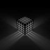 Glowing cube. Rays shining through the cracks Stock Photo
