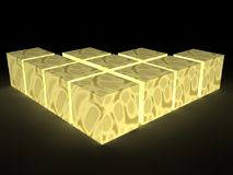 Glowing cubes Royalty Free Stock Images