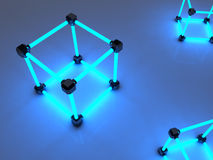 Glowing cubes of fluorescent tubes. Abstract. Composition of geometric processing facilities Stock Images
