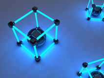 Glowing cubes of fluorescent tubes. Abstract. Composition of geometric processing facilities Royalty Free Stock Photo