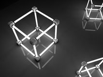 Glowing cubes of fluorescent tubes. Abstract. Composition of geometric processing facilities Royalty Free Stock Images