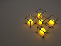 Glowing cubes of fluorescent tubes. Abstract. Composition of geometric processing facilities Royalty Free Stock Image