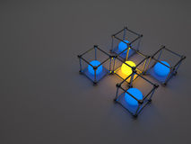 Glowing cubes of fluorescent tubes. Abstract. Composition of geometric processing facilities Stock Photo