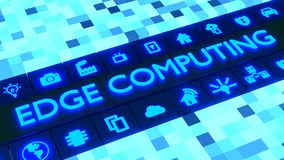 Glowing cubic landscape with the word edge computing surrounded royalty free illustration