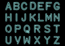 Glowing Cyan Blue Neon Alphabet isolated and transparent. Custom handcrafted font for design. Stock Photography