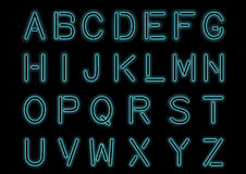 Glowing Cyan Blue Neon Alphabet  and transparent. Custom font for design. Shiny letters and symbols. Royalty Free Stock Image