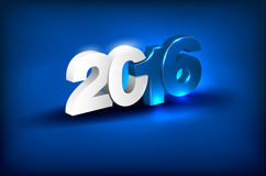Glowing 3D lettering - 2016. Glowing 3D lettering 2016 on blue background - greeting card for New Year 2016 - place for text. Vector illustration Stock Photo