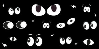 Glowing in the dark spooky eyes vector background Royalty Free Stock Photos