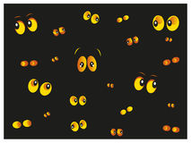 Glowing in the dark yellow cat eyes vector. Glowing in the dark yellow cat eyes background vector Royalty Free Stock Photography