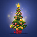 Glowing decorated winter christmas tree with star. Festoon and decor balls standing in a pot with red ribbon. Flat style isolated vector illustration Stock Photography