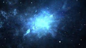Glowing Deep Space Traveling Nebula with Stars.