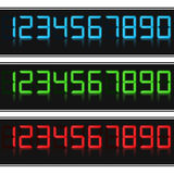 Glowing Digital Numbers. Blue, green and red colors Royalty Free Stock Photos