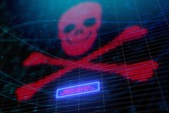 Glowing digital skull background. Glowing digital red skull background. Hacking and cyber risk concept. 3D Rendering vector illustration