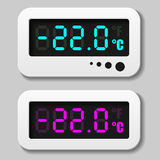 Glowing digital thermometer icons Royalty Free Stock Photos