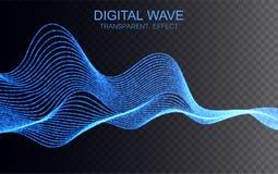 Glowing digital wave. Transparent light effect. Vector illustration. EPS10 Stock Illustration