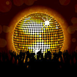 Glowing disco ball and crowd Royalty Free Stock Photo