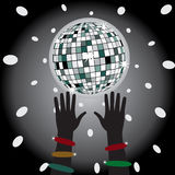 Glowing disco ball and dancer hands. Stock Images