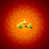 Glowing Diwali Lamps. Background On Exploding Mandala Background