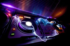 Glowing DJ Equipment. Studio DJ equipment glowing with light Stock Photo