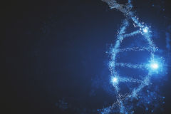 Glowing DNA background. Abstract glowing polygonal DNA molecule background with copy space. Medicine concept. 3D Rendering Royalty Free Stock Photos