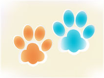 Glowing dog footprints Royalty Free Stock Photos